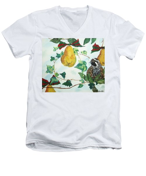 Men's V-Neck T-Shirt featuring the painting Partridge And  Pears  by Reina Resto