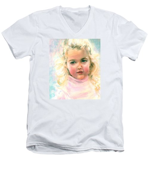 Men's V-Neck T-Shirt featuring the painting Pastel Portrait Of An Angelic Girl by Greta Corens