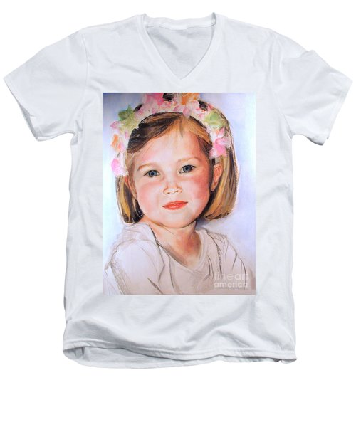 Pastel Portrait Of Girl With Flowers In Her Hair Men's V-Neck T-Shirt