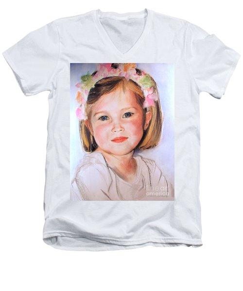 Pastel Portrait Of Girl With Flowers In Her Hair Men's V-Neck T-Shirt