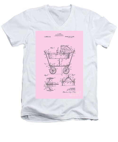 Patent Art Baby Carriage 1922 Mahr Design Pink Men's V-Neck T-Shirt