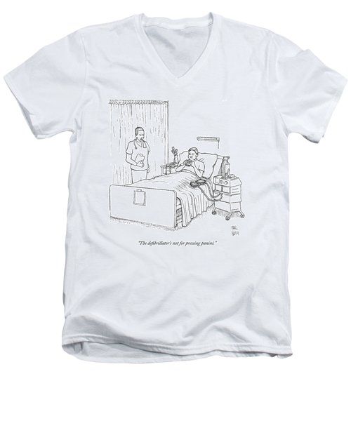 Patient Eating Sandwich In Hospital Bed Men's V-Neck T-Shirt