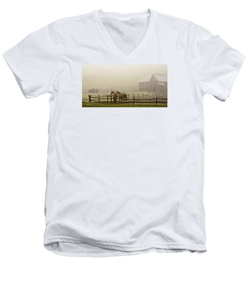 Men's V-Neck T-Shirt featuring the photograph Patiently Waiting by Joan Davis