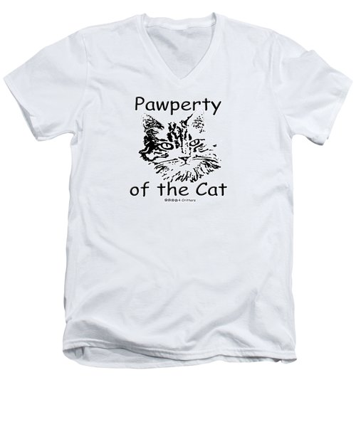 Pawperty Of The Cat Men's V-Neck T-Shirt
