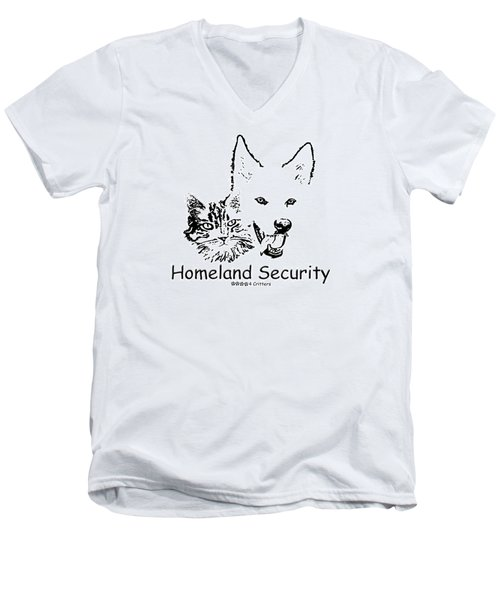 Paws4critters Homeland Security Men's V-Neck T-Shirt