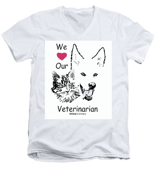 Paws4critters Love Veterinarian Men's V-Neck T-Shirt