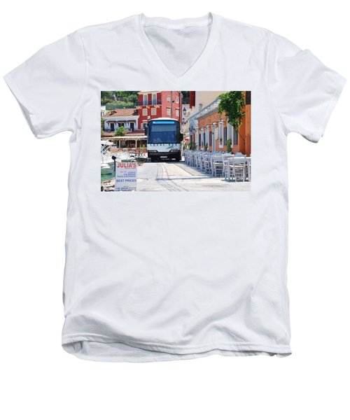 Paxos Island Bus Men's V-Neck T-Shirt