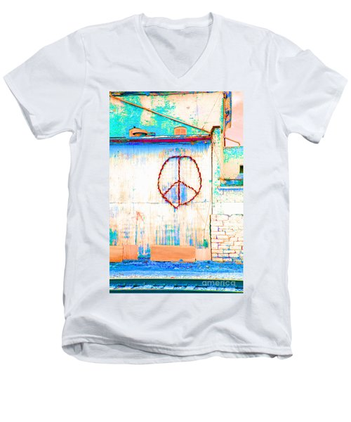 Men's V-Neck T-Shirt featuring the photograph Peace 1 by Minnie Lippiatt