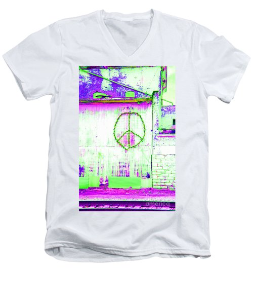 Men's V-Neck T-Shirt featuring the photograph Peace 2 by Minnie Lippiatt