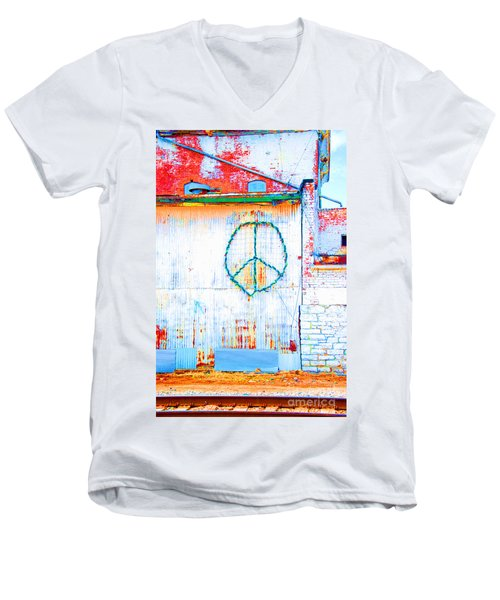 Men's V-Neck T-Shirt featuring the photograph Peace 3 by Minnie Lippiatt