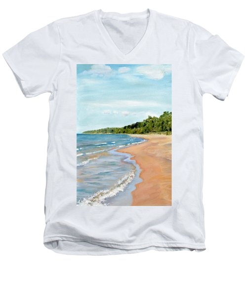 Peaceful Beach At Pier Cove Men's V-Neck T-Shirt