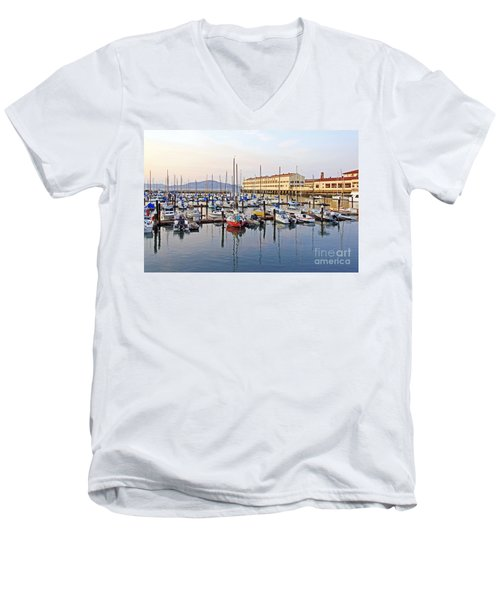 Men's V-Neck T-Shirt featuring the photograph Peaceful Marina by Kate Brown