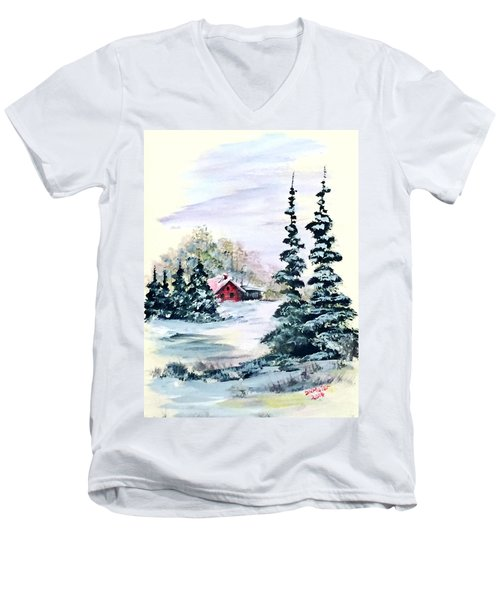 Men's V-Neck T-Shirt featuring the painting Peaceful Winter by Dorothy Maier
