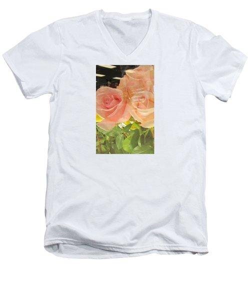 Peach Roses In Greeting Card Men's V-Neck T-Shirt