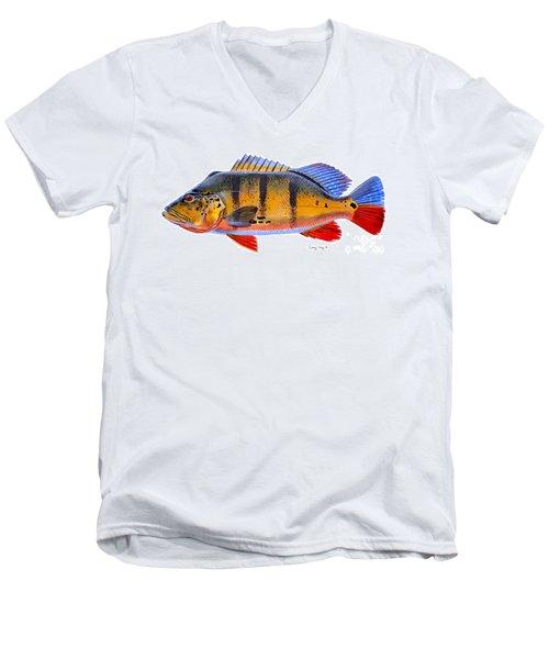 Peacock Bass Men's V-Neck T-Shirt by Carey Chen