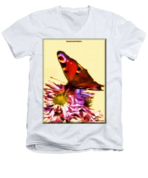 Men's V-Neck T-Shirt featuring the digital art Peacock Butterfly by Daniel Janda