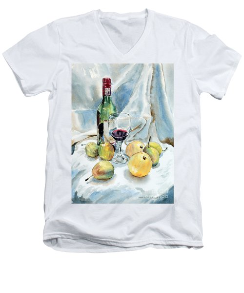 Men's V-Neck T-Shirt featuring the painting Pears And Wine by Joey Agbayani