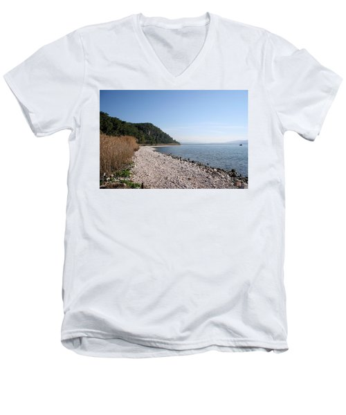 Men's V-Neck T-Shirt featuring the photograph Pebbled Beach by Tracey Harrington-Simpson