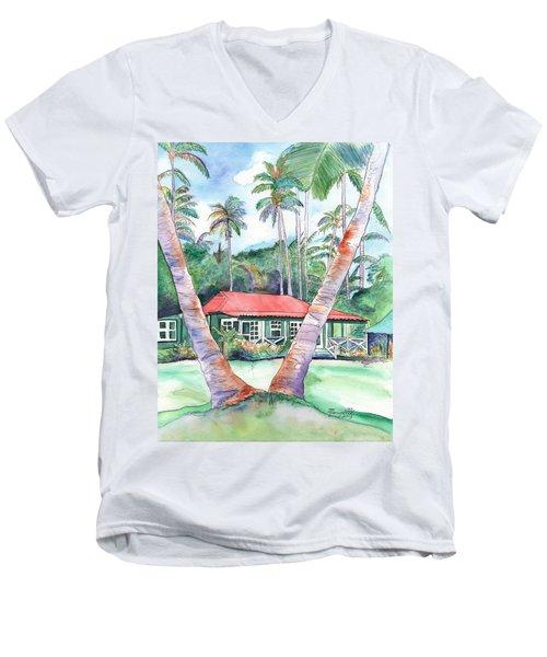 Peeking Between The Palm Trees 2 Men's V-Neck T-Shirt by Marionette Taboniar