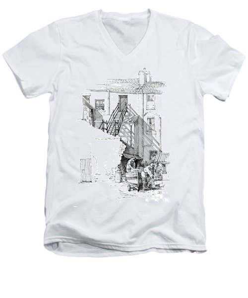 Men's V-Neck T-Shirt featuring the drawing Peel Back Street by Paul Davenport