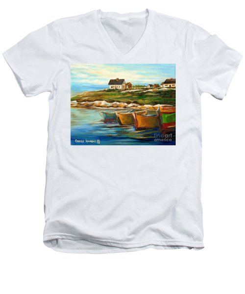 Peggys Cove With Fishing Boats Men's V-Neck T-Shirt