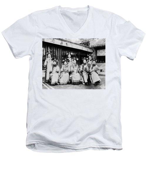 Men's V-Neck T-Shirt featuring the photograph Peking Palace Women by Granger