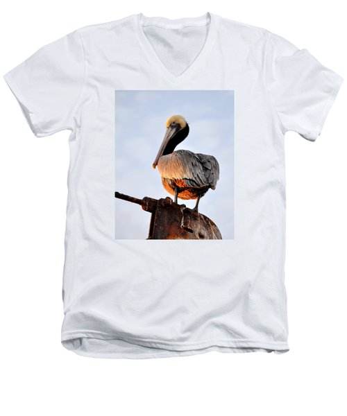 Men's V-Neck T-Shirt featuring the photograph Pelican Looking Back by AJ  Schibig