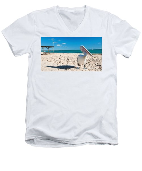 Pelican Under Blue Sky Men's V-Neck T-Shirt