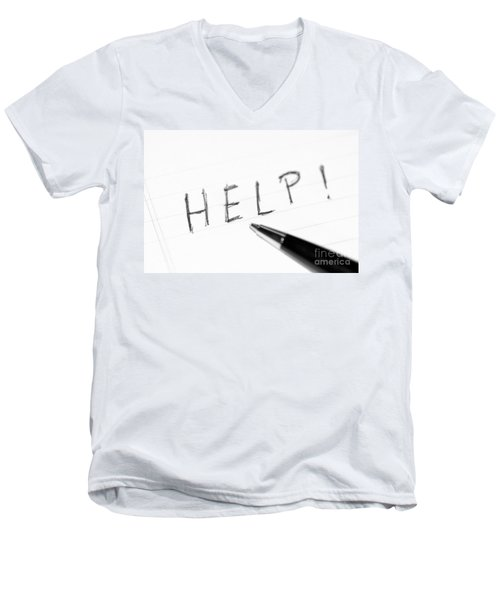 Men's V-Neck T-Shirt featuring the photograph Pen Help Black White by Henrik Lehnerer