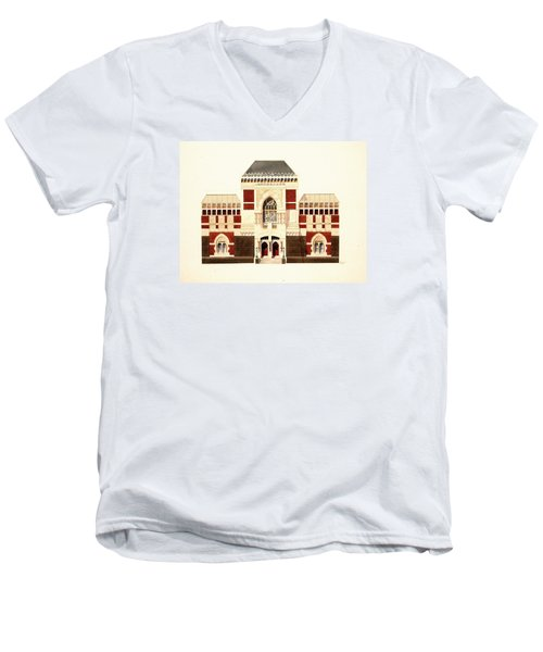 Men's V-Neck T-Shirt featuring the painting Pennsylvania Academy Of Fine Art by William Renzulli