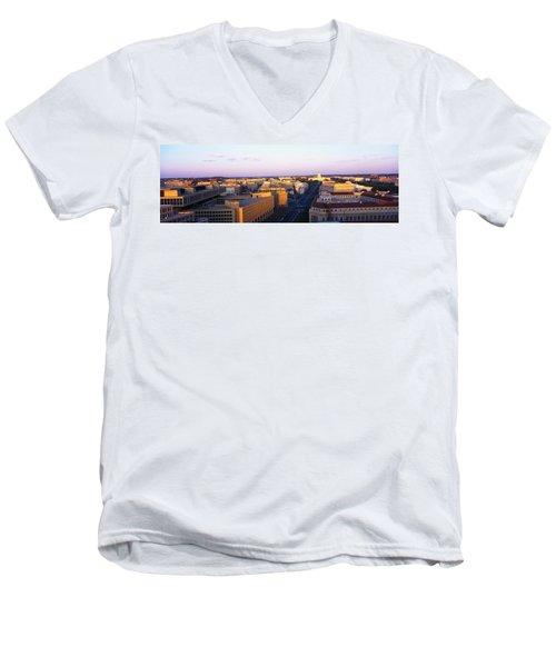 Pennsylvania Ave Washington Dc Men's V-Neck T-Shirt by Panoramic Images