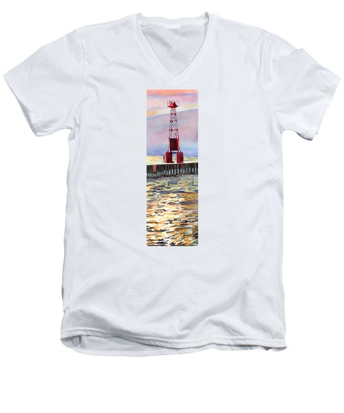 Men's V-Neck T-Shirt featuring the painting Pentwater South Pier by LeAnne Sowa