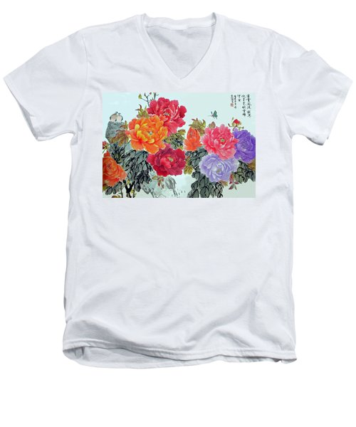 Men's V-Neck T-Shirt featuring the photograph Peonies And Birds by Yufeng Wang