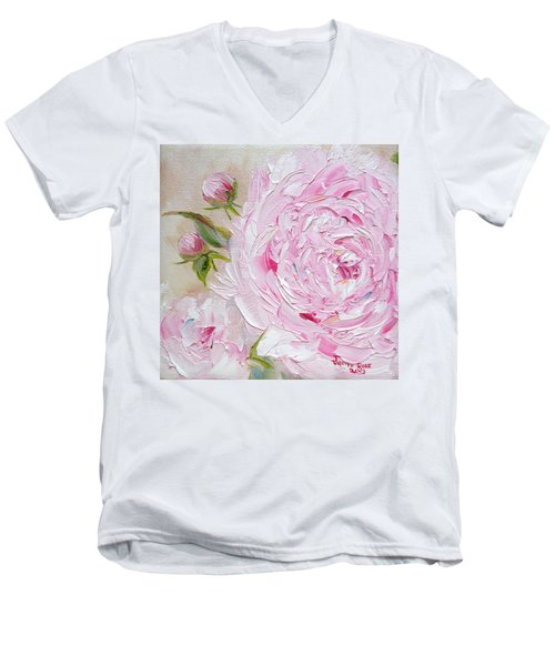 Men's V-Neck T-Shirt featuring the painting Peony by Judith Rhue