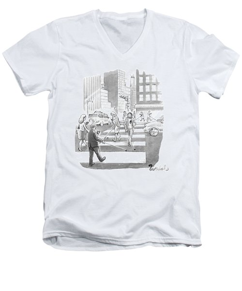 People Are Crossing The Street Looking Men's V-Neck T-Shirt