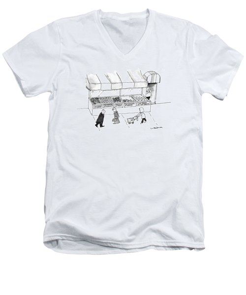 People Are Seen Walking Past A Produce Stand Men's V-Neck T-Shirt