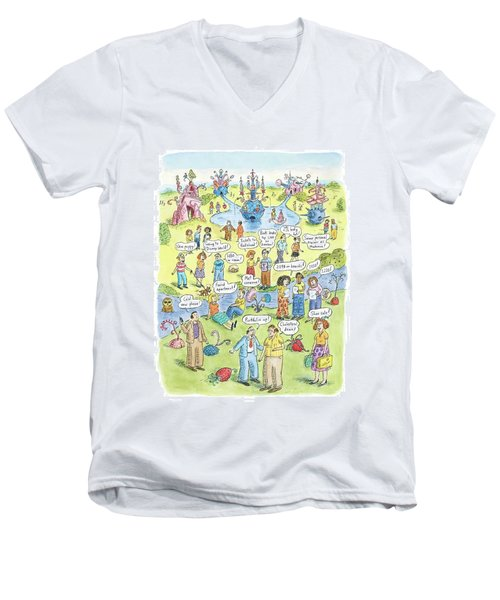 People Share Good News Around A Garden Men's V-Neck T-Shirt