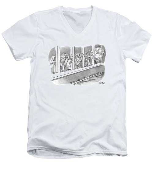 People Waiting For A Subway Peek Onto The Tracks Men's V-Neck T-Shirt
