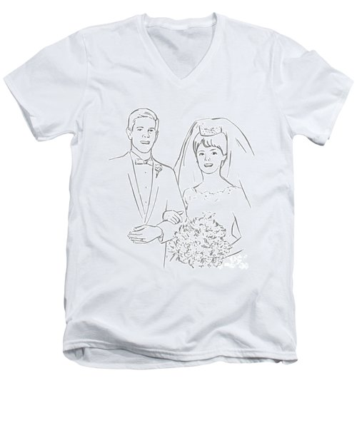 Men's V-Neck T-Shirt featuring the drawing Perfect Wedding by Olimpia - Hinamatsuri Barbu