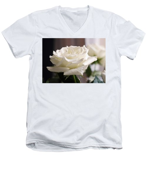 Perfect White Rose Men's V-Neck T-Shirt by Connie Fox