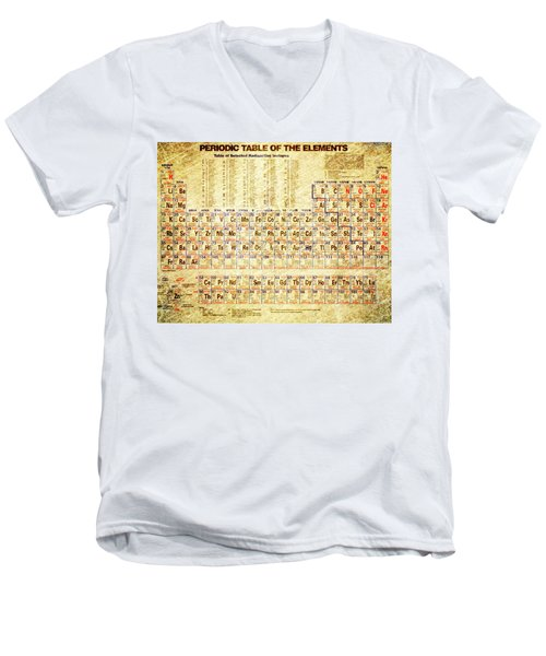 Periodic Table Of The Elements Vintage White Frame Men's V-Neck T-Shirt by Eti Reid