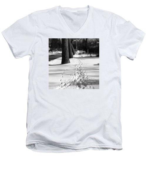 Pet Prints In The Snow Men's V-Neck T-Shirt by Frank J Casella