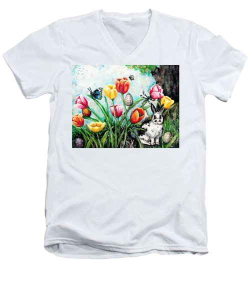 Men's V-Neck T-Shirt featuring the painting Peters Easter Garden by Shana Rowe Jackson