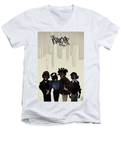 Men's V-Neck T-Shirt featuring the drawing Pharcyde -passing Me By 1 by Nelson dedos Garcia