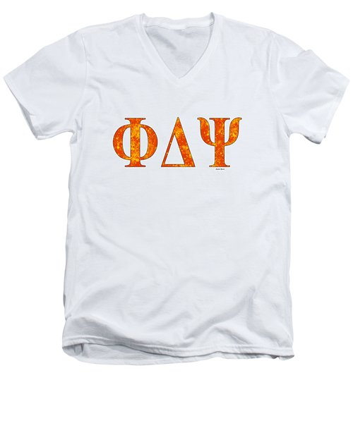 Men's V-Neck T-Shirt featuring the digital art Phi Delta Psi - White by Stephen Younts