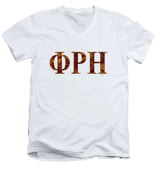 Men's V-Neck T-Shirt featuring the digital art Phi Rho Eta - White by Stephen Younts