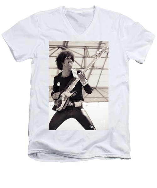 Phil Lynott Of Thin Lizzy Black Rose Tour At Day On The Green 4th Of July 1979 - Unreleased No 2 Men's V-Neck T-Shirt