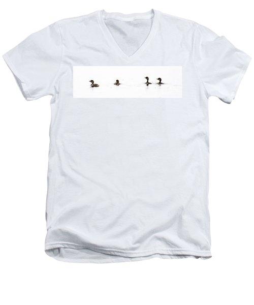Pied-billed Grebe Babies Men's V-Neck T-Shirt