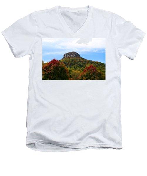 Pilot Mountain From 52 Men's V-Neck T-Shirt by Kathryn Meyer