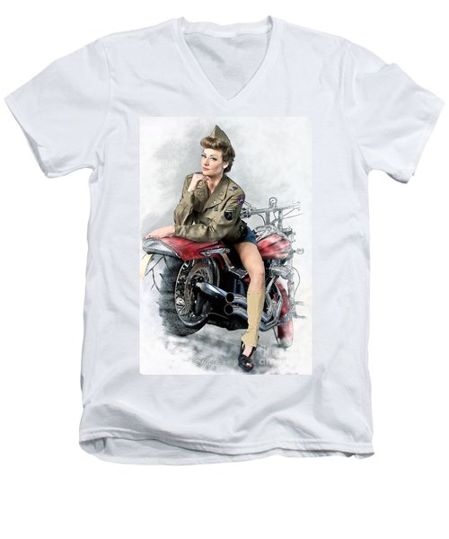 Pin-up Biker  Men's V-Neck T-Shirt